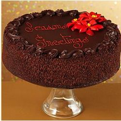 "10"" Three Layer Chocolate Season's Greetings Cake"
