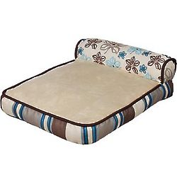 Floral and Stripe Chaise Cat Bed