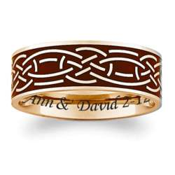 Titanium Black and Gold Celtic Engraved Band