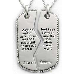 Sterling Silver Military Dog Tag Pendant with Prayer Inscription