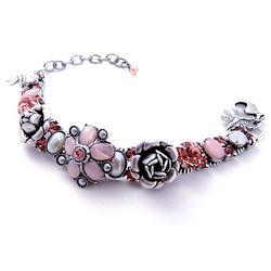 Peach Rose Flower Bud Pewter Bracelet