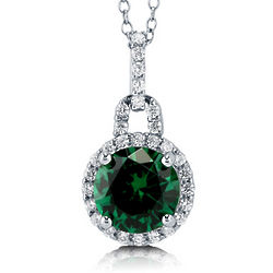 Round Emerald Cut Cubic Zirconia and Sterling Silver Halo Pendant