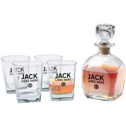 Jack Lives Here Whiskey Decanter Lowball Glasses