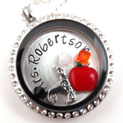 Teacher Floating Glass Locket Personalized Hand Stamped Necklace
