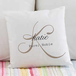 Name Meaning Personalized Throw Pillow