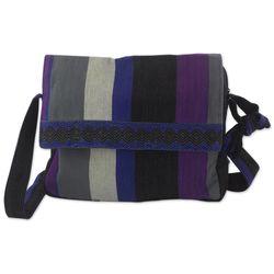 Luscious Gray Cotton Messenger Bag