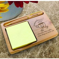 Personalized Coffee Cup Wooden Notepad and Pen Holder