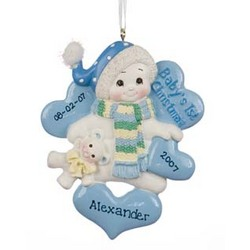 Snowbaby Boy's 1st Christmas Personalized Christmas Ornament