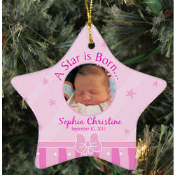 Personalized Ceramic Star New Baby Girl Photo Ornament
