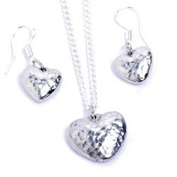 10th Anniversary Tin Heart Pendant and Earring Set