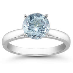Aquamarine Solitaire Sterling Silver Ring