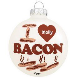I Love Bacon Personalized Christmas Ornament