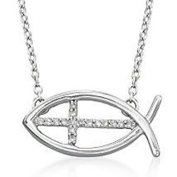 Silver and Diamond Accent Ichthus Cross Pendant