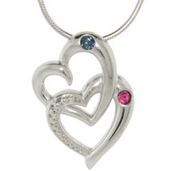 Double Hearts Couple's Birthstone Pendant