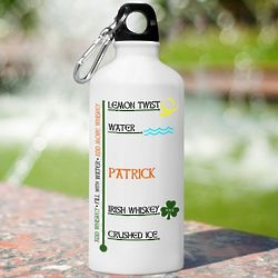 Irish Whiskey Personalized Water Bottle