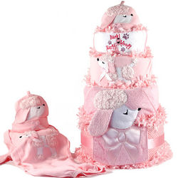 Personalized Pink Poodle Bath Accessories and Diaper Cake