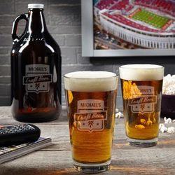 Custom Craft Beer Growler And Pint Glass Gift Set