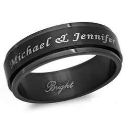 Personalized Black Stainless Steel Spinner Ring