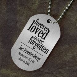 Forever Loved Personalized Memorial Dog Tag Necklace