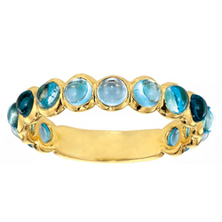 14k Yellow Gold Bezel Cabochon Blue Topaz Stackable Ring