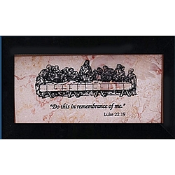 Last Supper Black Framed Jerusalem Stone Plaque