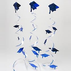 Blue Grad Cap Whirls