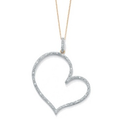 18k Gold over Sterling Silver Diamond Heart-Shaped Pendant
