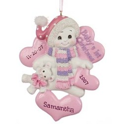 Snowbaby Girl's 1st Christmas Personalized Christmas Ornament