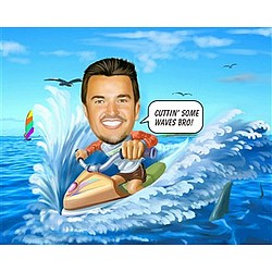 Jet Ski Caricature Print from Photo
