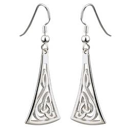Sterling Silver Long Celtic Drop Earrings