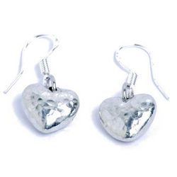 Hammered Tin Heart Earrings