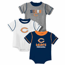 Chicago Bears 3-Piece Baby Creeper Set
