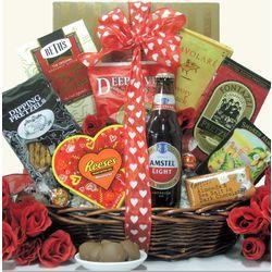 Valentine's Day Beer & Snacks Gift Basket