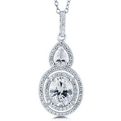 Oval Cubic Zirconia and Sterling Silver Double Halo Pendant