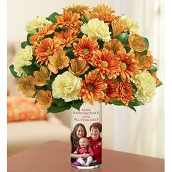 Personalized Vase with Fall Bouquet