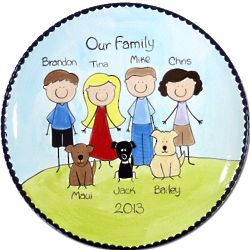 """11"""" Personalized Family Portrait People Plate"""