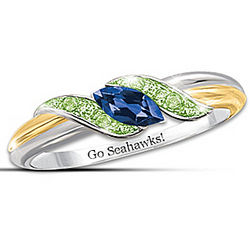 Pride of Seattle Blue Sapphire and Peridot Embrace Ring