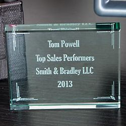 Personalized Glass Block Recognition Award