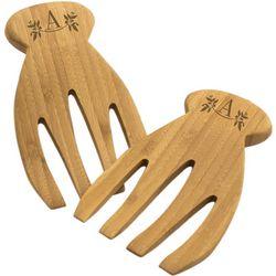 Bamboo Wood Monogrammed Salad Forks
