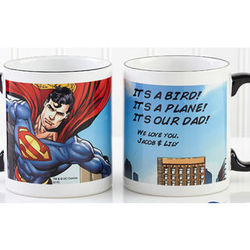 Superman Personalized Black Handle Coffee Mug