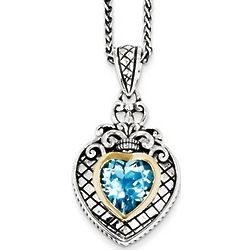 Swiss Blue Topaz Heart Necklace in Sterling Silver with 14K Gold