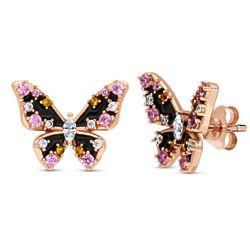 Rose Gold Flashed Silver CZ Butterfly Enamel Stud Earrings