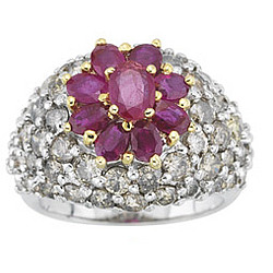 Diamond & Ruby Ring in 18K White Gold