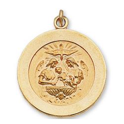 14k Yellow Gold Holy Spirit Carved Medium Baptism Medal