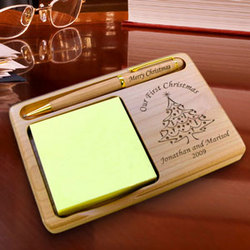 Personalized Christmas Tree Wooden Notepad & Pen Holder