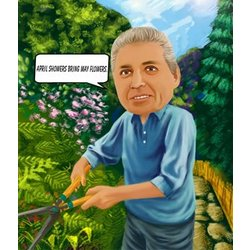 Gardening Caricature for Him from Photos