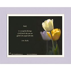 Friendship Poem Personalized White Tulip Print