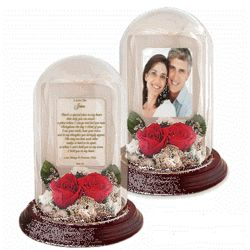 Preserved Real Roses in Love Poem Dome