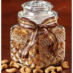 Vintage Pressed Glass Jar with Jumbo Cashews