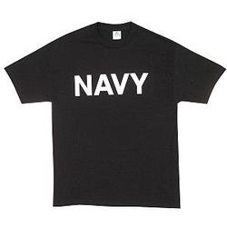 Navy Black with White Letters Physical Training T-Shirt